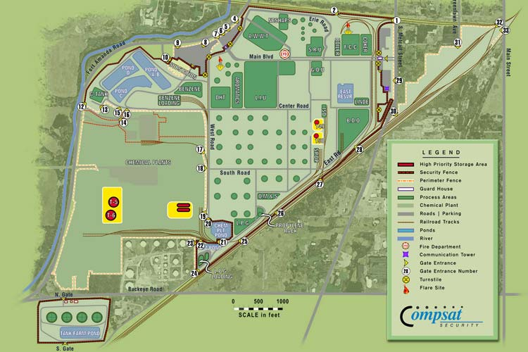 Illustration - Oil Refinery campus map